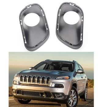 1Pair Front Fog Lamp Bezels Fog Light Cover Frame Trim Car Accessories for Jeep Cherokee 2014