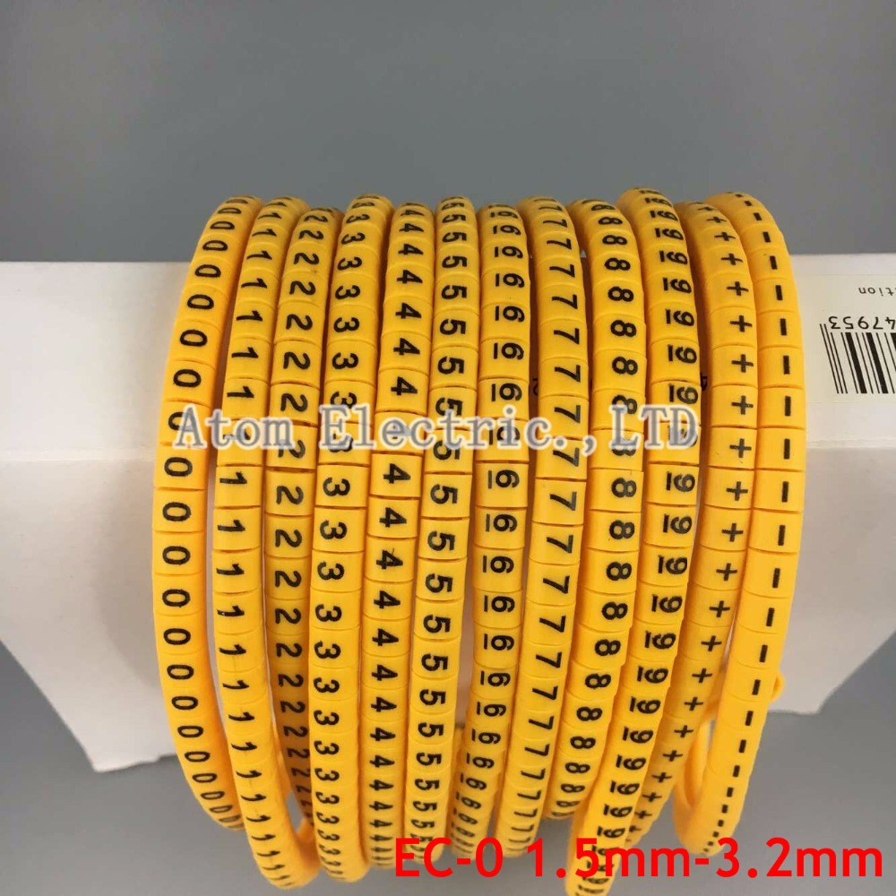 где купить 1200 pcs /Lot EC-0/EC-1/EC-2 -EC-3 Yellow Cable Wire Markers Letter