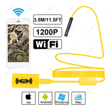 HD 1200P Waterproof WIFI Inspection Mini endoscope camera Borescope Snake Video Cam Built In Battery F150 For Android Tablet PC