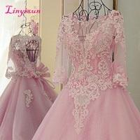 Linyixun Full Sleeve Scoop Vestidos de Noiva 2018 Royal Princess Pink Wedding Dresses Bead Sequined Long Train Wedding Gowns
