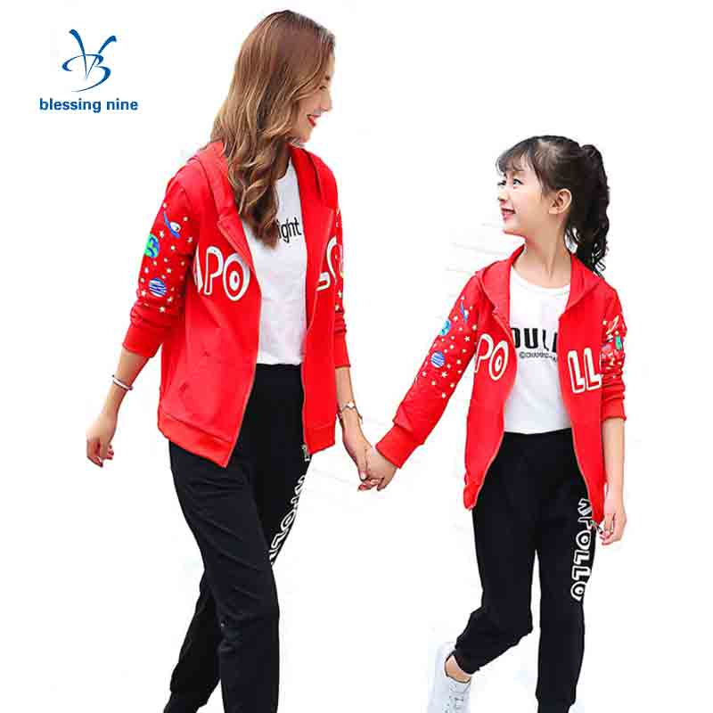Family Matching Clothes Mommy and Daughter Kids Sport Suit Mum Me Clothing Set Cotton Hooded Mother Daughter Outfits Autumn