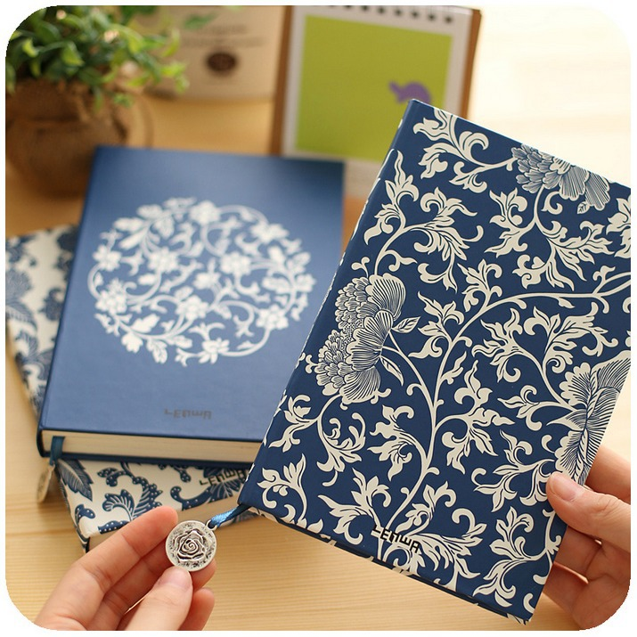 Blue&White Porcelain Journal Diary Hard Cover Lined School Study Notebook Memo Agenda Notepad Gift pink pineapple cute notebook diary hand memo study journal coil spiral notepad