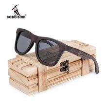 Bobo pássaro okulary ebony madeira óculos de sol polarizados lente cinza masculino feminino óculos padrão gravado dropshipping