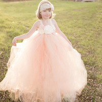 Peach and Ivory Flower Girl Dress Kids Lace Tutu Dress Christmas Wedding Birthday Party Pageants Photo Clothing TS082
