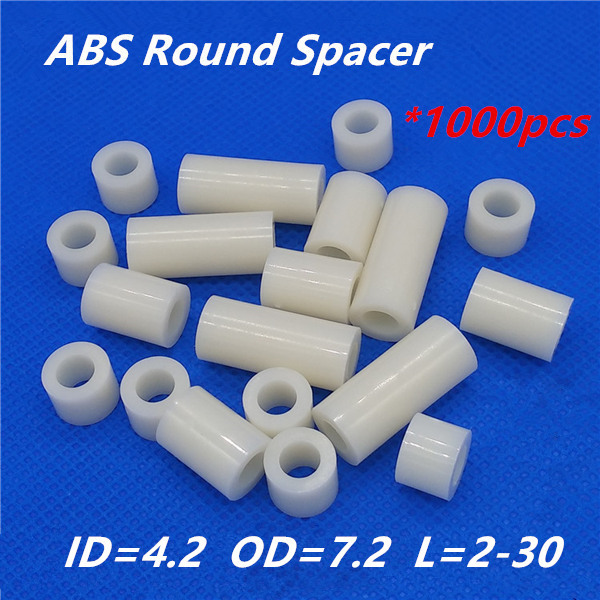 1000pcs M4 White Nylon ABS Round Hollow Non-Threaded Standoff Spacer PCB Board Screw Bolt Long Washer ID=4.2 OD=7.2