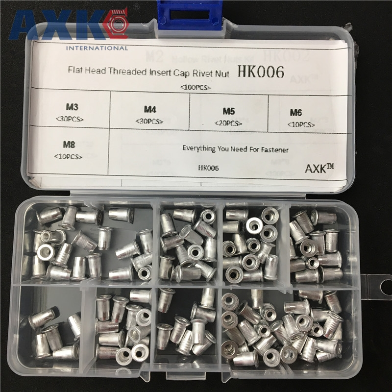 цена на 100Pcs/Box M3 M4 M5 M6 M8 Aluminum Alloy Rivnut Flat Head Threaded Rivet Insert Nutsert Cap Rivet Nut Assortment Kit HK006