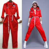 Red Jazz Dance Jumpsuit Sexy Nightclub Female Singer Street Hip Hop Cheerleader Performance Wear Clothing Stage Outfit DWY1017