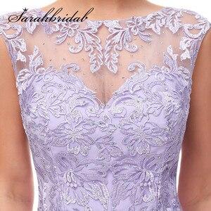 Image 5 - Haft elegancka, długa suknie wieczorowe zroszony linia O Neck Illusion suknia na graduation data formalna Prom Vestidos CC5311