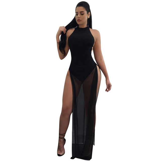 3f6e6756a937 Anself Sexy Women See-through Mesh Maxi Dress High Slit High Neck Robe  Sleeveless Backless Clubwear Party Bodysuit Top One Piece
