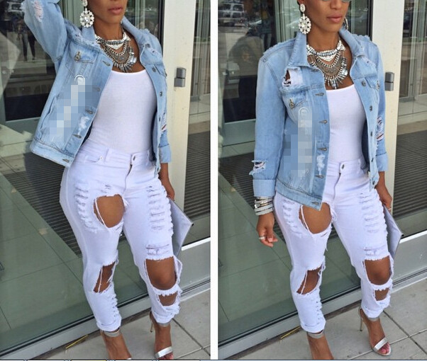 Aliexpress.com : Buy 2015 High Waist Jeans Woman Knee Skinny ...