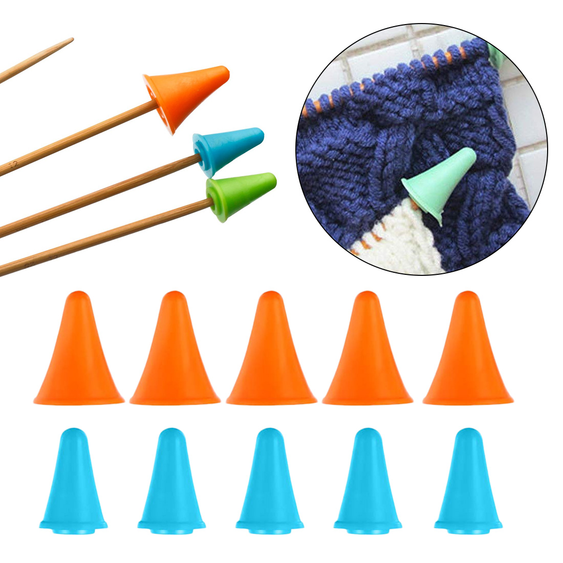 10pcs Rubber Cone Shape Knit Knitting Needles Cap Tips Point Protectors 2 Sizes For Knitting Craft Sewing Accessories