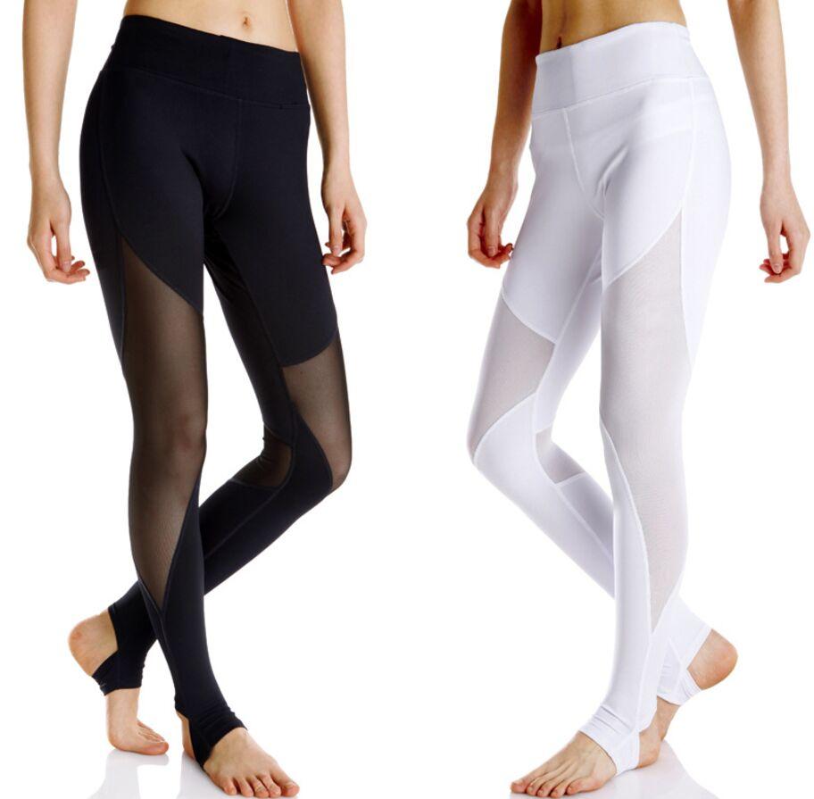 Mesh Patchwork Womens Leggings Yoga Pants Gym Leggins Sports Trousers Women Fitness Jogging Femme Capri Running Tights