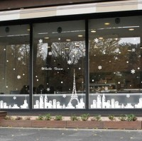 050954 White Town The Eiffel Tower Snow At Christmas New Year Decoration Decoration Glass Window Wall