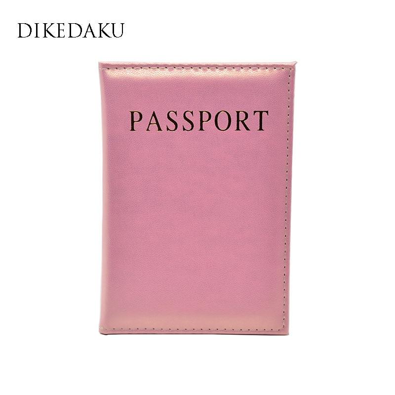 DIKEDAKU Elegant Soft Leather Passport Cover Women Fashion Solid Lady Passport Holder Nice Candy Cute Passport Case For Passport