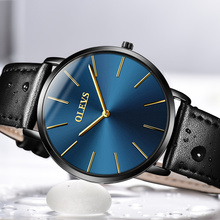 OLEVS Brand Luxury Ultrathin Quartz Men Watches Business Casual Black Japan quartz Watch Genuine Leather Clock