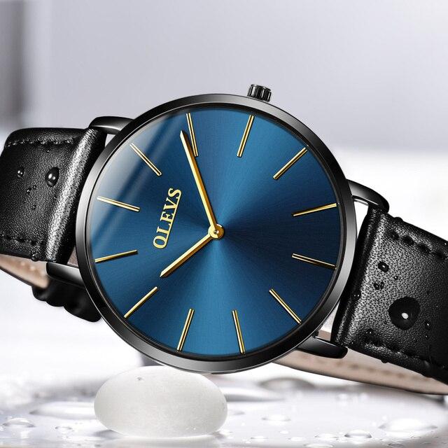 f39a4f9b7d43 OLEVS marca de lujo ultrafino cuarzo hombres relojes negocios Casual negro  Japón cuarzo-reloj de