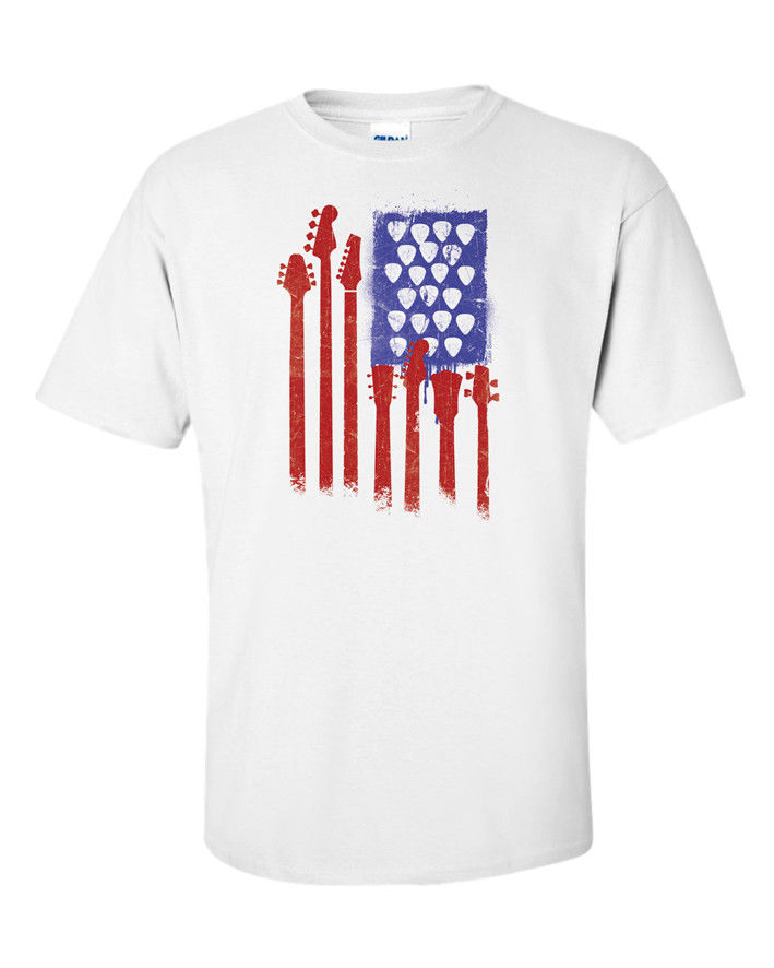 American Flag T-Shirt Guitar Bass Picks Funny Gift Idea Music Men Tee Rock USA 2018 Short Sleeve Cotton T Shirts Man Clothing