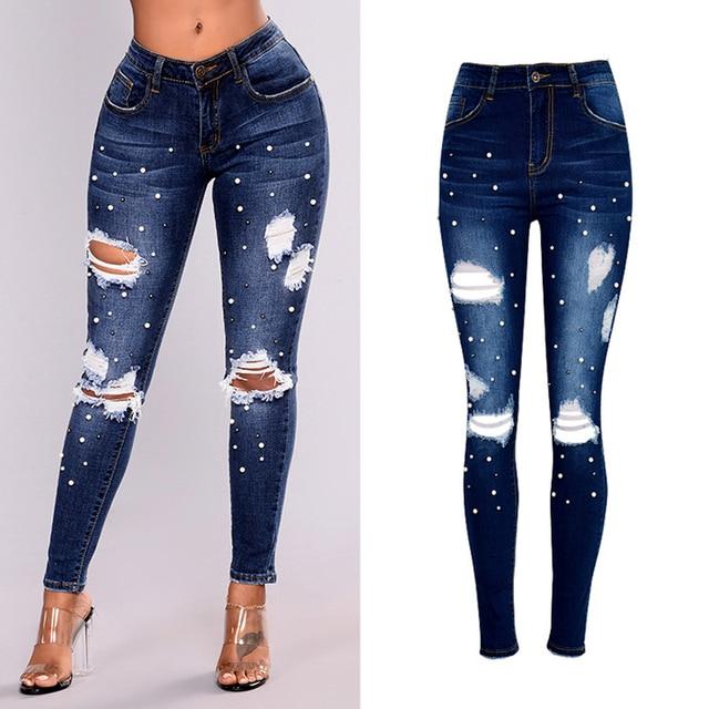 1f532f1e8 Pantalones vaqueros rasgados con pedrería de perlas para mujer de 2018  Jeans de cintura alta talla