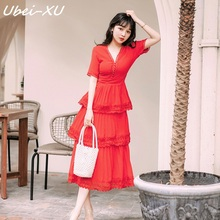 Ubei 2019 new summer French vintage bright red super fairy sweet V-neck cake chiffon dress women resort beach long