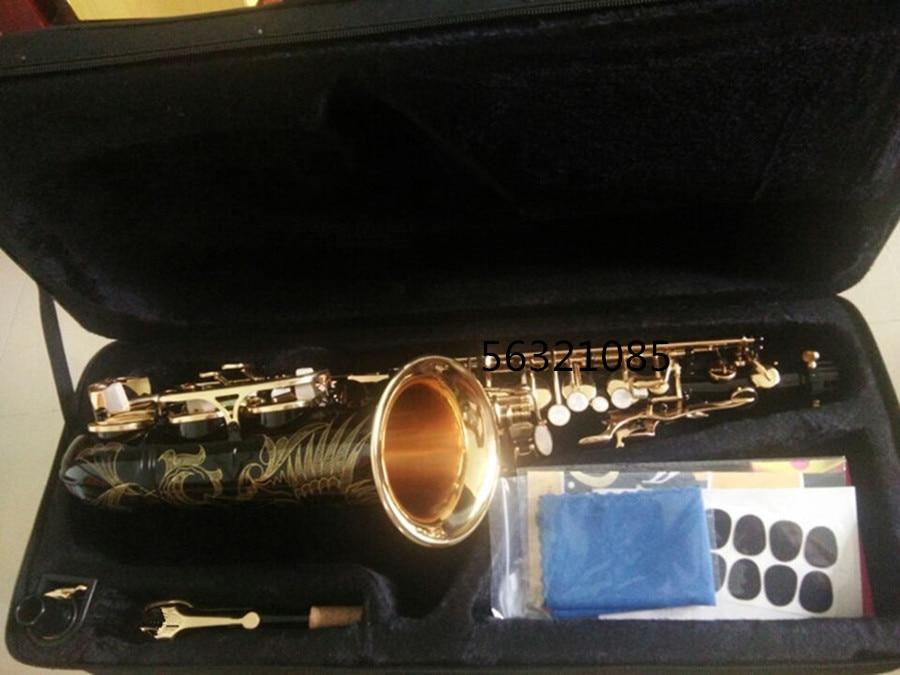 Hot sale saxophone black Alto brass engraving SAS R54 mode black gold Sax musical instruments professional