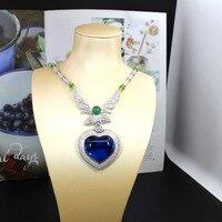 Fashion designer copper jewelry 3A cubic zirconia party jewelry sea of heart big blue stone necklace huge heart shape choker