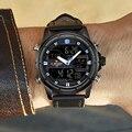 NAVIFORCE Marca Top Men Esporte Militar Relógios LED Digital Quartz Relógio de Pulso de Couro À Prova D' Água Moda Relógio Relogio masculino