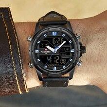 dcdc6051385 NAVIFORCE Marca Top Men Esporte Militar Relógios LED Digital Quartz Relógio  de Pulso de Couro À