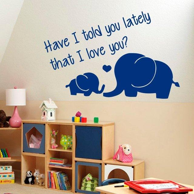 Muurtattoo Vinyl Sticker Olifanten Familie Quotes I Love U Baby Muur