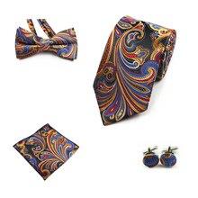 Ricnais 4PCS Tie Set Men Bow Tie and Handkerchief Bowtie Cufflinks 8cm Necktie 100% Silk Ties For Business Wedding Party Hombre