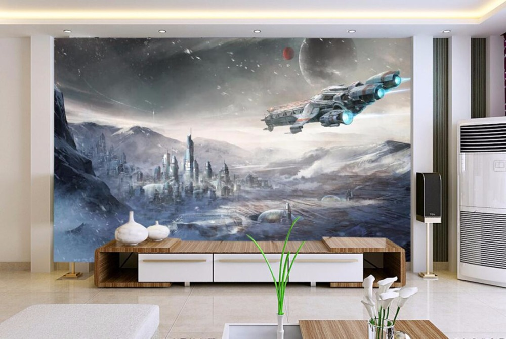 Stars War Spaceship 3D Cartoon Wallpaper Mural for Kids Room-Free Shipping 3D Wall Stickers For Kids Rooms