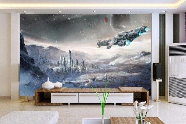 Stars War Spaceship 3D Cartoon Wallpaper Mural for Kids Room-Free Shipping