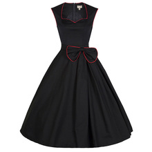 Vintage Dresses 50s 60s Black Women Elegant Dress 2017 Rockabilly Summer Tropical Solid Sundress Vestido Party dresses Plus Size