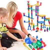 Children 180pcs Plastic Race Maze Track DIY Assembly Blocks Kits Kids Marble Runs Model Building Construction Set Infant Toys