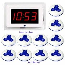 433 мГц Беспроводной официант медсестра вызов пейджер Системы хоста получателя голос вещания + 10 шт. передатчик вызова кнопку Ресторан F3259B