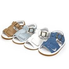 Детские сандалии; обувь для новорожденных из искусственной кожи на мягкой подошве; летняя противоскользящая детская кроватка; обувь с резиновой подошвой