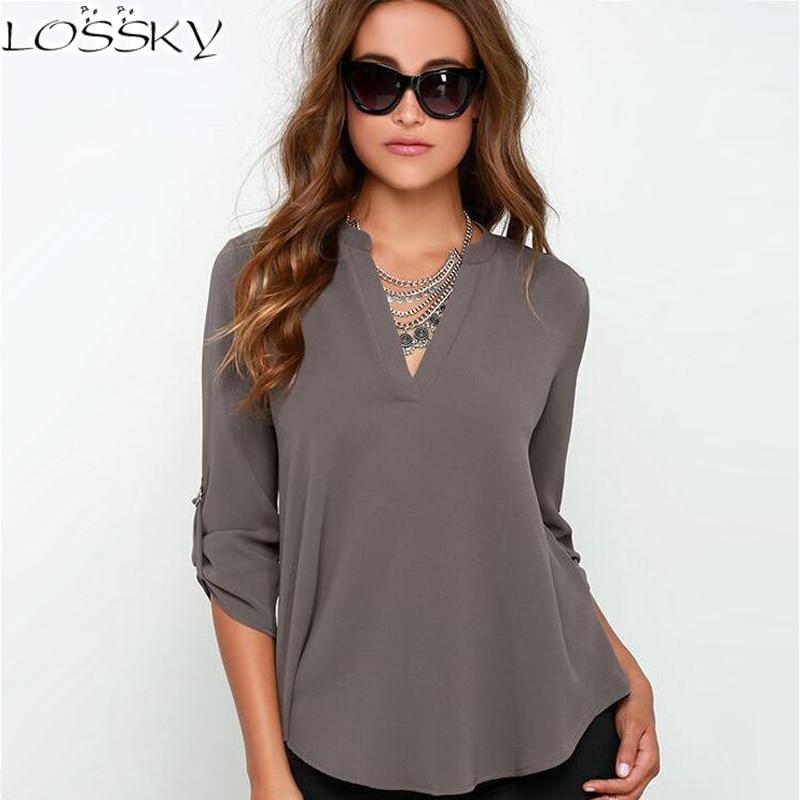 2017 großen Hof Tops Frauen V-ausschnitt Chiffon Blusen 3/4 Hülse Weibliches Hemd Mode Große Größe Plus Größe Feminina Camisas Blusas