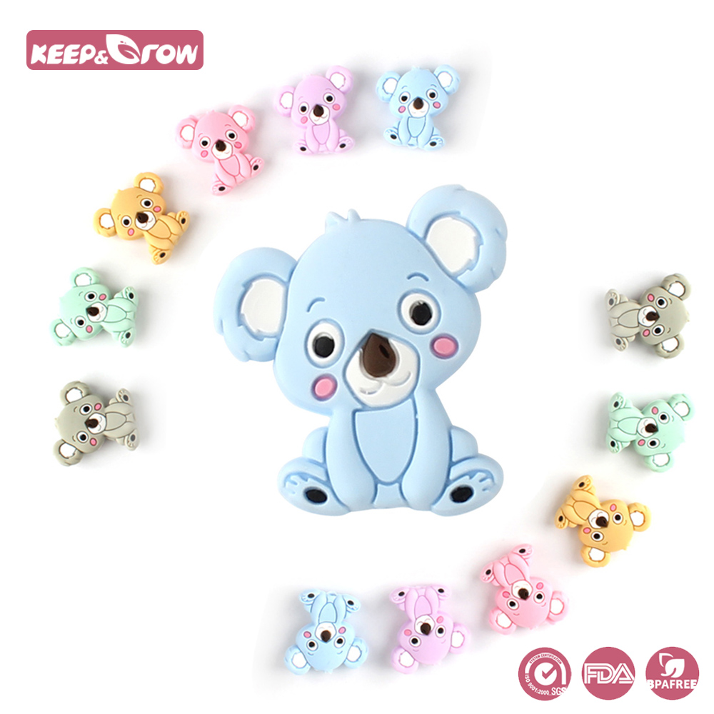 Keep&Grow 10pcs Koala Silicone Beads Rodents Baby Teether Food Grade  Silicone Pearls Pacifier Pendant Baby Products