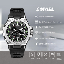 Men Watch SMAEL Black Clock Analog-Digital Wristwatches Luminous Hands Stop Sport reloj hombre Luxury Brand Watches
