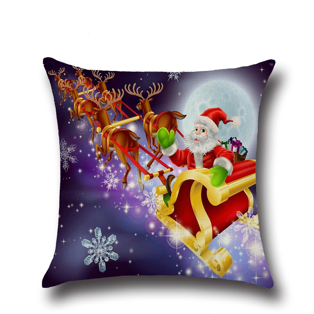 Marry Christmas Santa Claus Elk Cotton Linen Home Decor Sofa Office Pillow Cover Persona ...