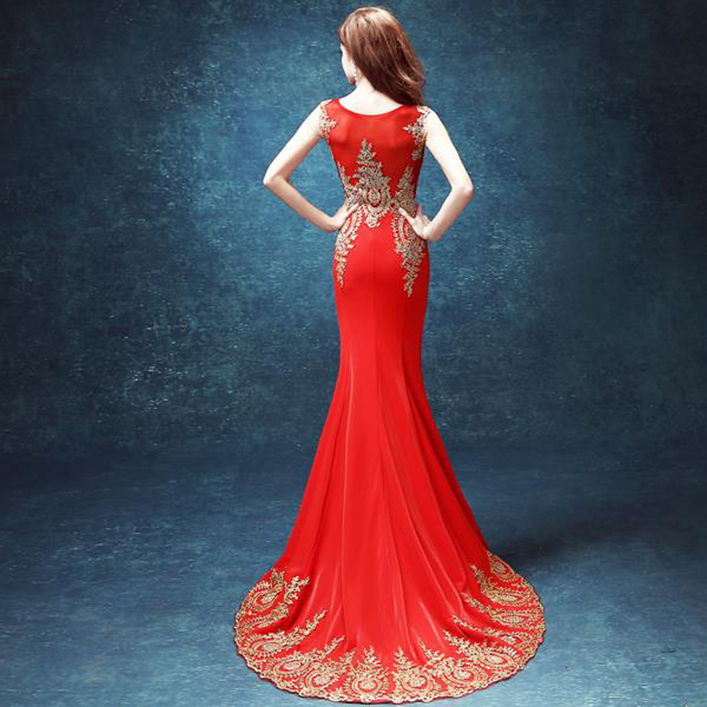8d0505e9923 zkc uncle 18 25 year old sheath mermaid crystal dress red o neck long court  train Prom dresses.2438
