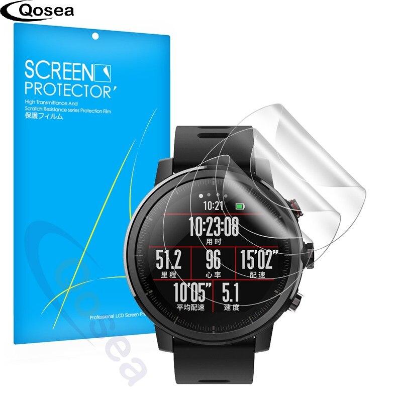 Qosea (3 PACK) pour Xiaomi Huami Amazfit Stratos Rythme 2 Protecteur D'écran 3X Clear LCD Garde Bouclier Anti-Explosion Film de Couverture