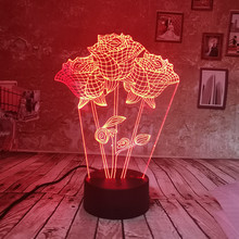 Mothers Day Gift Flower Night Light 3D Rose Table Lamp 7 Color Toys Bed Room Decor Birthday Ideas Gifts for Lover Girl Friends(China)