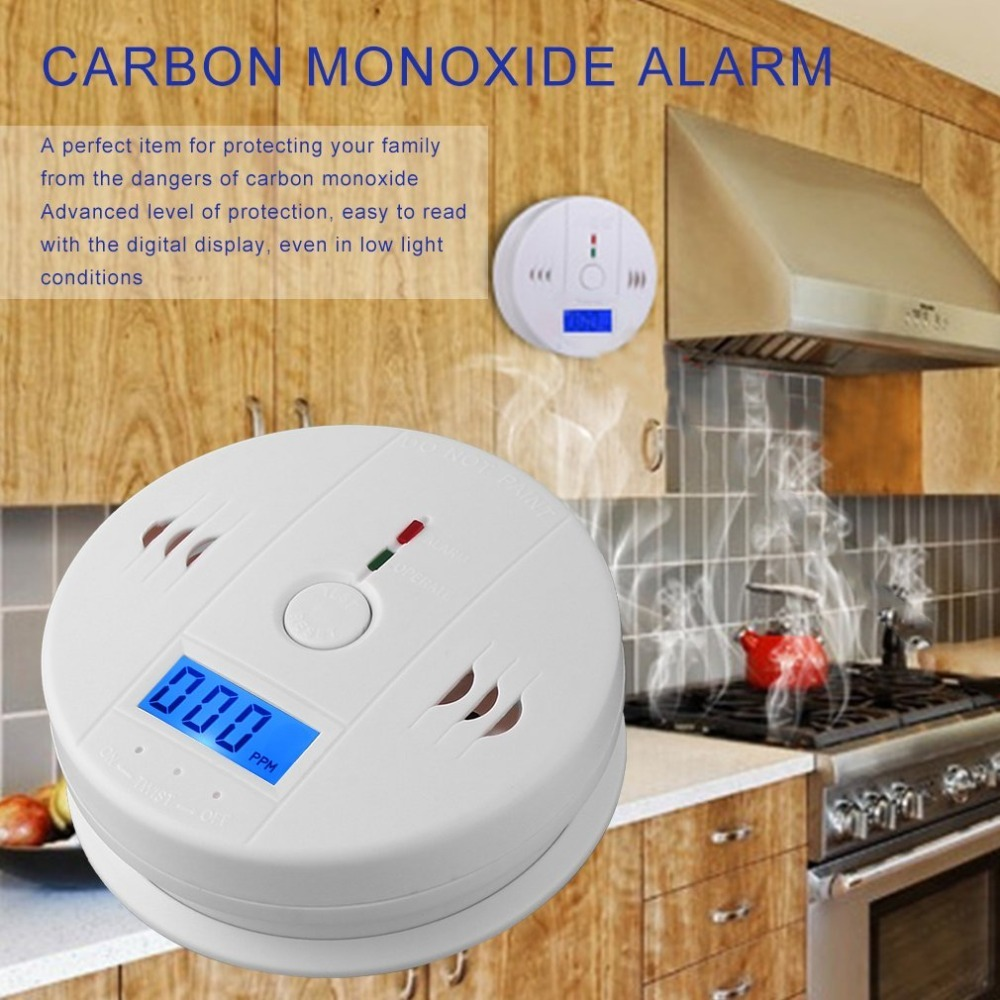 LESHP CO Gas Sensor Detector Carbon Monoxide Poisoning Alarm Detector LCD Photoelectric Independent 85dB Warning High Sensitive
