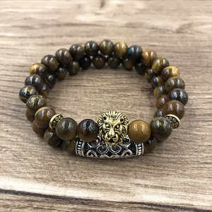 Image 4 - 2Pcs/Set Gold Silver Color Lion Charm Tiger Eye Lava Stone Prayer Beads Buddha Bracelet Set for Women Mens Pulseras Masculina