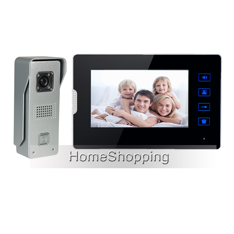 FREE SHIPPING Wired 7 TFT Touch Screen Video Door phone Intercom System + 1 Monitor + 1  ...