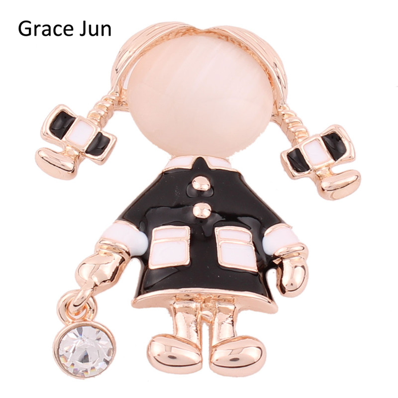 Grace Jun 2017 Top Quality Pigtail Gril Brooches for Wedding Bouquet Fashion Opal Eanmel Brooches Hijab Pin Brooch Jewelry Gift