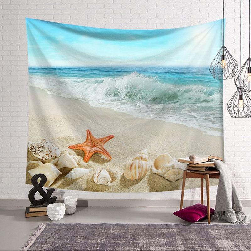 Hawaiian Beach Blanket: Shell Starfish Wall Hanging Tapestry Beach Blanket Hawaii
