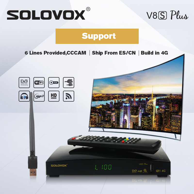 SOLOVOX V8S PLUS Satellite TV Receiver 2USB Support Biss Key WEB TV Home Theater Support CCCAM