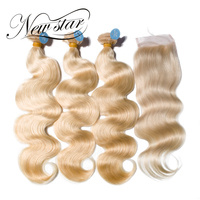 NEW STAR #613 Blonde Body Wave Brazilian 3 Bundles With Closure Free Part Thick Remy Human Weave Hair Extension