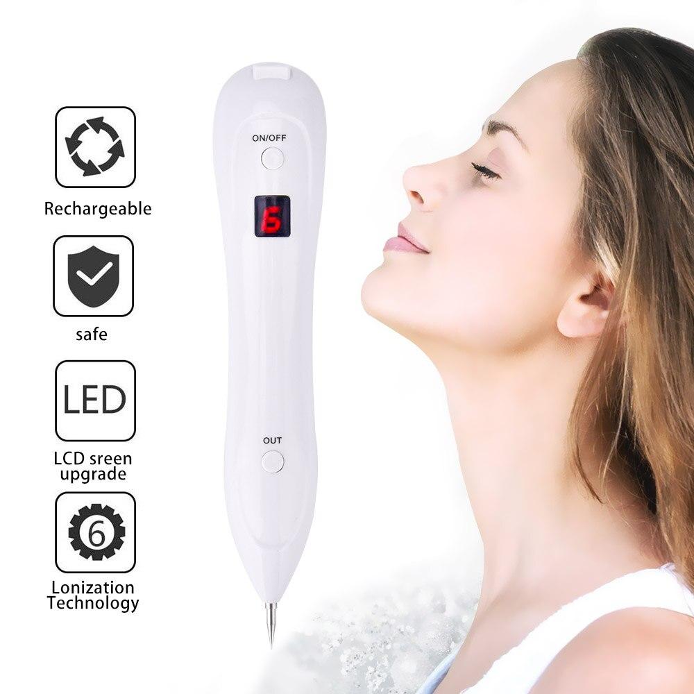 Professionelle Laser Sommersprossen Entfernung Maschine 6 Getriebe LCD Display Haut Warze Naevus Tag Tattoo Dot Mole Spot Radiergummi Sweep Spot stift Kit